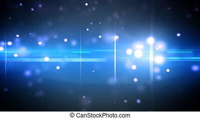 partículas, azul, óptico, destellos