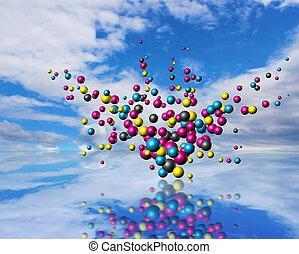 partículas, cloudscape, explosión
