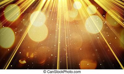 partículas, dourado, raios, luz