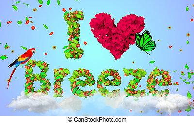 partículas, folhas, brisa, amor, 3d