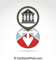 part, épület, noha, nyílvesszö, vektor, ikon, fogalmi, jelkép, ügy, és, pénzel, bankügylet, theme.