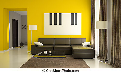 Part 1 of interior with yellow walls - Part of interior with...