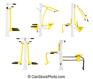 gym machines - Part 1. Set of gym machines for legs, chest,...
