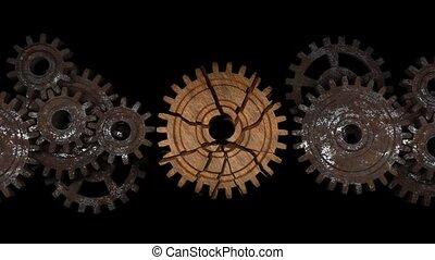 part., cassé, teamwork., gears., grand, mécanisme, infructueux
