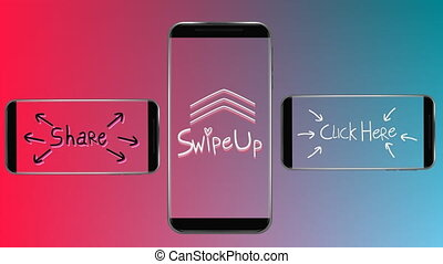 part, déclic, trois, haut, ici, smartphones, écrans, scintiller, animation, mots, swipe