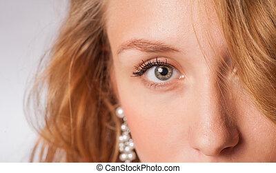 part face blond eye