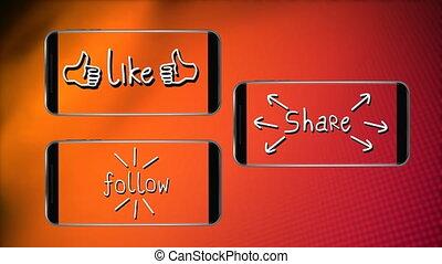 part, fond, aimer, orange, suivre, smartphones, écrans, scintiller, animation, mots