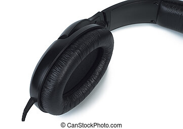 Part headphones close-up on white background.
