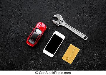 part, kiegyenlít, tető, fekete, ficam, háttér, apró, kilátás, repair., kártya, autó