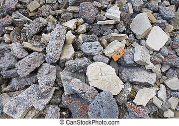 Part of a aerated concrete pile with big stones