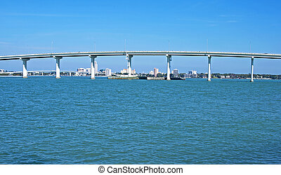 Part of a bridge in the Tampa Bay a