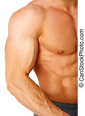 Part of a man's body on a white