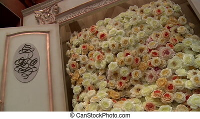 Part of a wedding decoration with white flowers