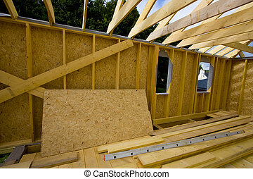 part of a wood house construction