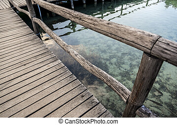 Part of a wooden pier.