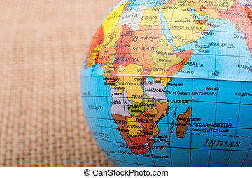 Part of Africa on a globe
