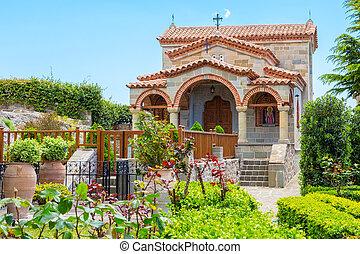 Part of Agios Stefanos St Stefan Monastery on Meteora cliff...