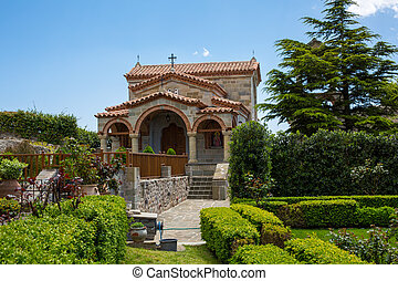 Part of Agios Stefanos St Stefan Monastery on Meteora cliff, Greece