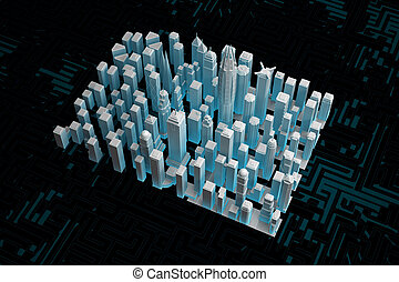 part of an abstract city with skyscrapers on a dark background