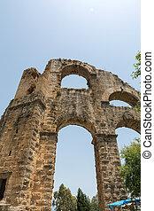 part of ancient aqueduct in Aspendos, Turkey