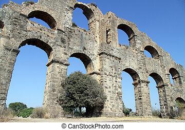 Part of aquaduct - Big part of ancient aquaduct near...