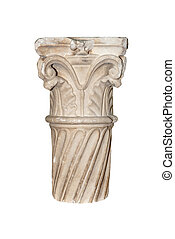 Part of architectural column is isolated on a white background.