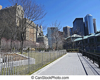 Part of Battery Park City with Pier 1 in Manhattan