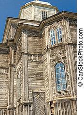 Part of beauty old wooden orthodoxy church in Pobirka near Uman - Ukraine, Europe.