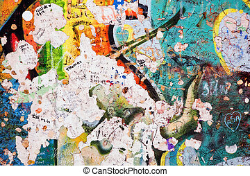 Part of Berlin Wall with graffiti - Part of Berlin Wall with...