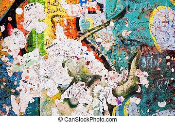 Part of Berlin Wall with graffiti