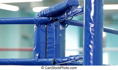 Part of blue boxing ring, top down, close up