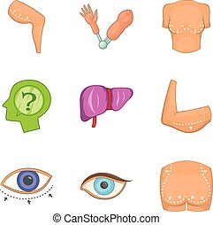 Part of body icons set, cartoon style