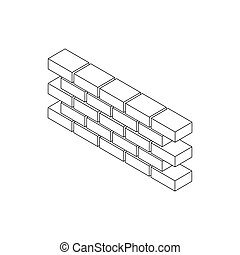 Part of brick wall icon, isometric 3d style