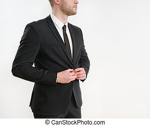 part of business man body side button up his black suit on white background