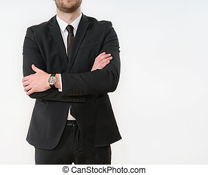 business man body side folded his arms in black suit on white background
