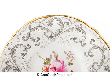 Part of china plate on the white background