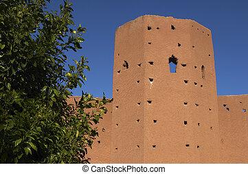 Part of city wall Marrakech morocco