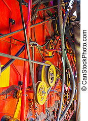 part of combine harvester  close up