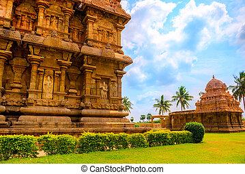 part of complex architecture Hindu Temple, ancient...