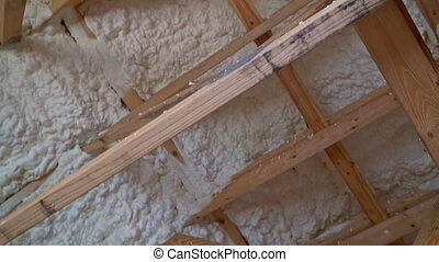 Part of Construction of ceiling foam insulation the attic