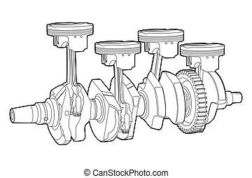 part of engine - Black outline vector illustration (engine ...