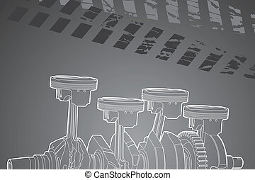 part of engine - White outline vector illustration (engine ...