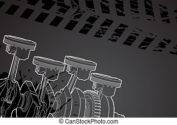 part of engine - White outline vector illustration (engine...