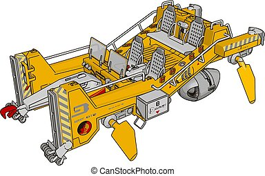 Part of excavator, illustration, vector on white background.