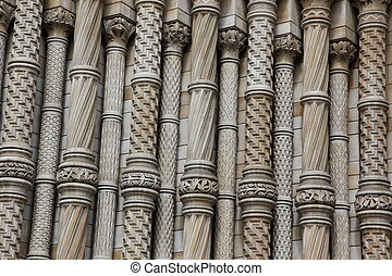 Part of facade of The Natural History Museum in London, UK