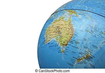part of globe isolated on white bac