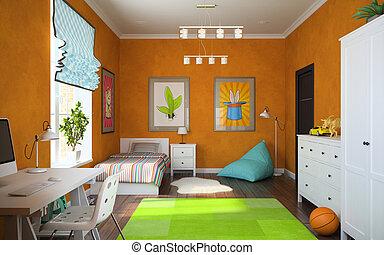Part of interior modern childroom 3D