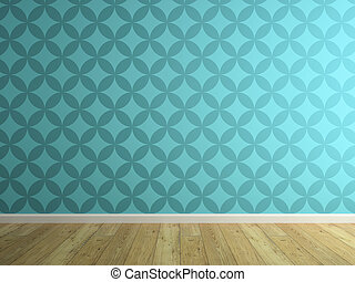 Part of interior with blue wallpaper 3D rendering 2