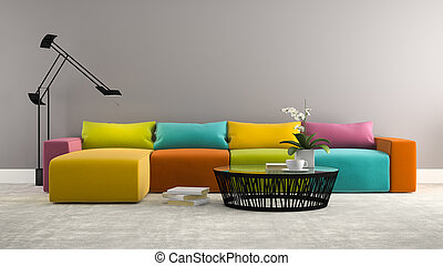 Part of interior with  modern colorful sofa 3d rendering