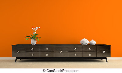 Part of interior with retro consol and orange wall 3D...